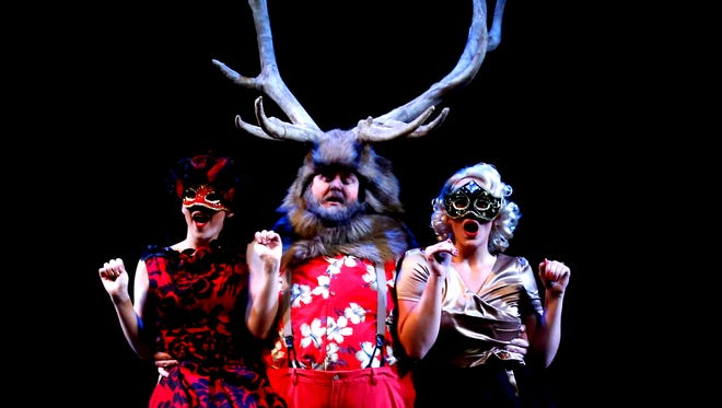"""Southwest Shakespeare's """"The Merry Wives of Windsor"""" stars (from left) Emily Mohney, Peter Good and Jordan Letson."""