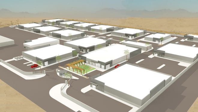 An architect's rendering of Del-Gro, a planned marijuana cultivation facility in Coachella.