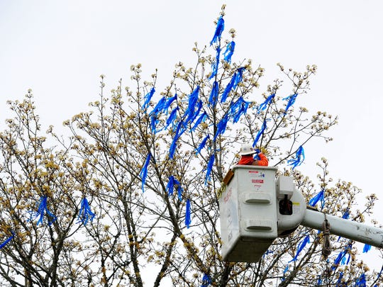 Portland General Electric foreman Jerry Coleman hangs blue ribbons from a tree outside the Capitol, on Wednesday, April 1, 2015. The ribbons symbolize the 10,630 confirmed victims of child abuse in Oregon in 2013.