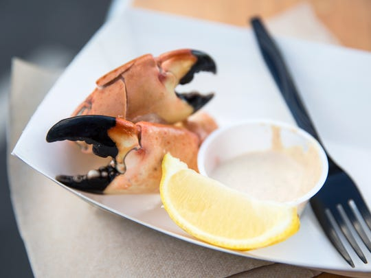 Fresh stone crab claws were available for feasting at the opening night of the Stone Crab Festival at Tin City in Naples on Friday, Oct. 27, 2017.