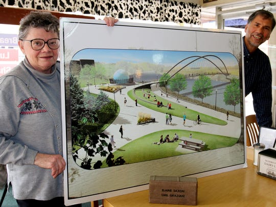 Hazel Patton, left, and Emil Graziani invite you to sponsor a paver or bench as part of the Minto Island Bridge and Trail project before June, 2016.