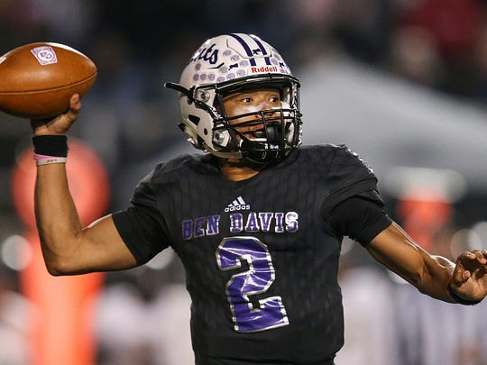Ben Davis quarterback Reese Taylor (2) is one of the