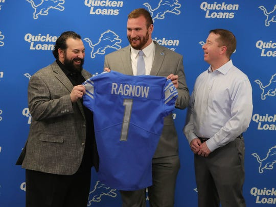 Left to right: Lions coach Matt Patricia, first-round