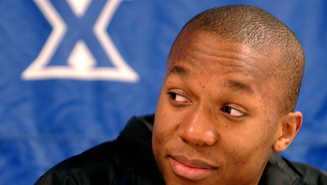David West reacts to the NCAA selection on Sunday March 10, 2002.