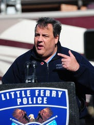 Gov. Chris Christie speaks at a briefing in Little
