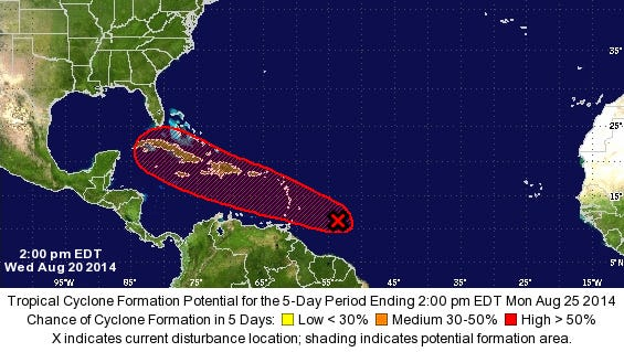A system has a high chance of becoming a tropical cyclone within five days