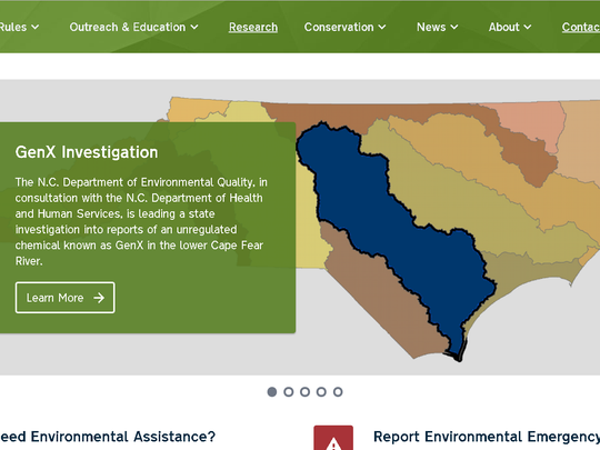 A screenshot from North Carolina Department of Environmental Quality shows in blue the region impacted by the presence of GenX in the Cape Fear River.