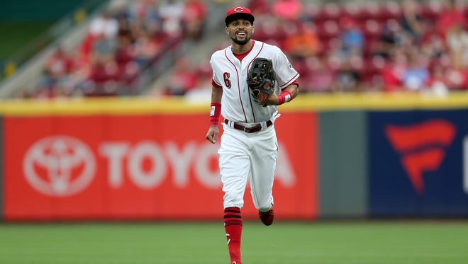 Cincinnati Reds center fielder Billy Hamilton (6) runs back to the dugout in the after the first inning during a National League baseball between the St. Louis Cardinals and the Cincinnati Reds, Monday, July 23, 2018, at Great American Ball Park in Cincinnati.