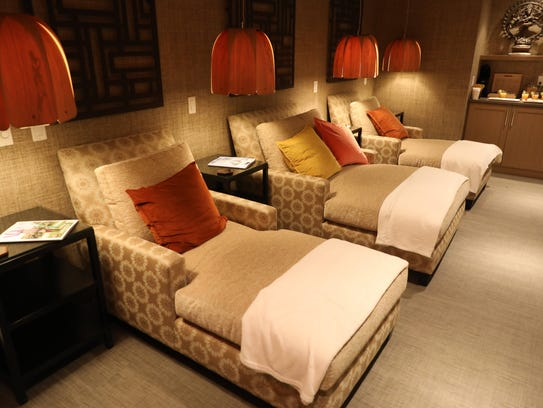 Comfy seating area in the spa at River Tides at Greystone