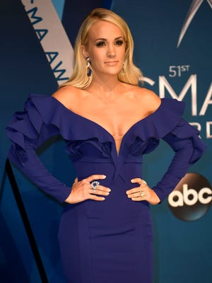 Carrie Underwood on the red carpet at Music City Center before the start of the 51st annual CMA Awards Wednesday, Nov. 8, 2017 in Nashville, Tenn.