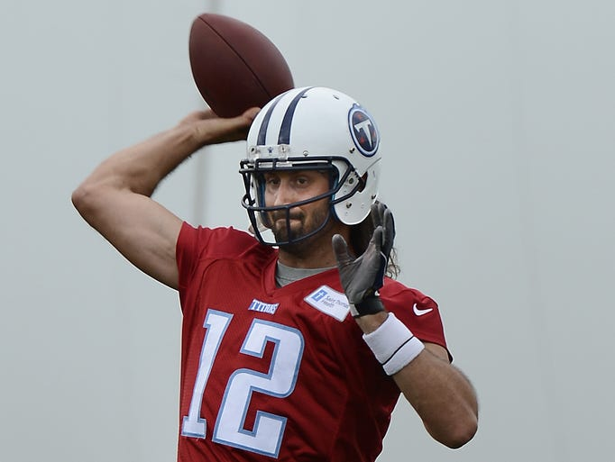 Tennessee Titans quarterback Charlie Whitehurst throws the ball during practice at Saint Thomas Sports Park on Monday, June 2, 2014.