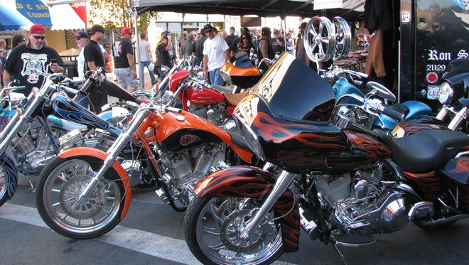 Bikes line the streets of downtown Reno during a previous year's Street Vibrations Spring Rally.
