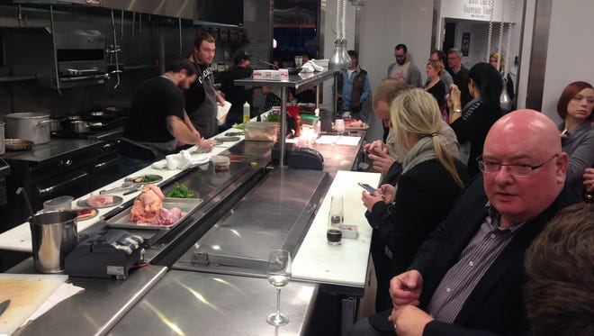 Cerulean chef Alan Sternberg, Milktooth's Jonathan Brooks and Plow & Anchor chef John Adams prepare to battle in the Cerulean kitchen as the audience watches their every move during the October Indy on Deck Chef Throwdown. The next event is Dec. 14 at Milktooth.