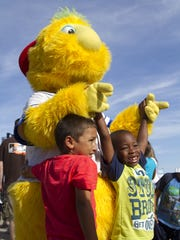 Buster hangs out with kids at the Lakewood BlueClaws