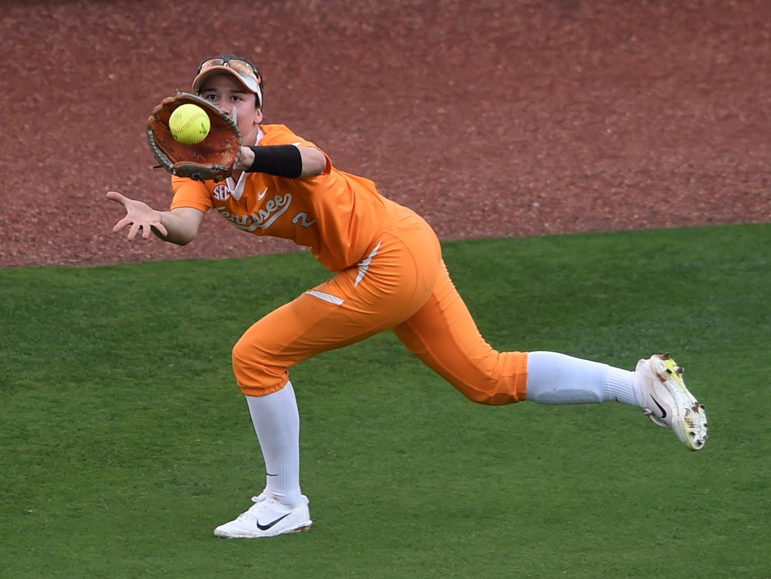 Tennessee's Jenna Holcomb (2) makes a play in left field during an NCAA Super Regional game between Tennessee and Texas A&M at Sherri Parker Lee Stadium on Saturday, May 27, 2017. Texas A&M defeated Tennessee 6-5.