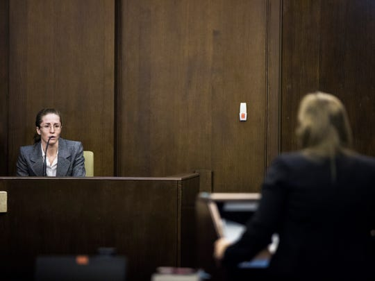 Lisa Troemner, 27, testifies during her trial at the Collier County Courthouse in East Naples on Monday, Jan. 29, 2018. Prosecutors say she fatally stabbed her live-in boyfriend, Trevor Smith, 30, in their home during an argument on Dec. 2, 2014.
