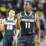 """Michigan State's Lourawls """"Tum Tum"""" Nairn, right, hopes a big summer league season translates to a big sophomore year, especially on the offensive end. The guard spent much of the summer working on his shooting."""
