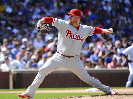 Brett Oberholtzer pitching for Phillies in 2016.