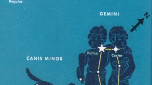 This star chart shows the bright star pair, Pollux and Castor, in Gemini the Twins. Also shown is the small, nearby constellation Canis Minor, the Little Dog, with its bright star Procyon. The star cluster M35 is marked. Turn this chart about an eighth of the way counter-clockwise to see how Gemini appears high in the south-southwest on an early April evening.