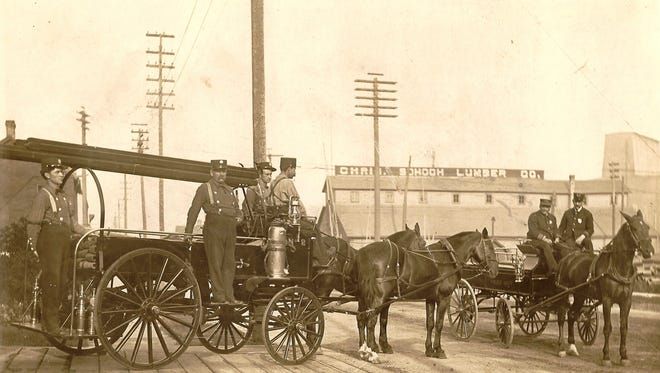 Horse-drawn engines played a large roll in putting out fires when the City of Manitowoc and surrounding areas were threatened in October 1871. This undated photo was taken near the front of the south-side firehouse at 911 Franklin St., Manitowoc.