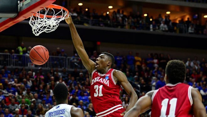 Mar 19, 2016; Des Moines, IA, USA; Indiana Hoosiers center Thomas Bryant (31) dunks the ball against Kentucky Wildcats forward Alex Poythress (22) in the second half during the second round of the 2016 NCAA Tournament at Wells Fargo Arena.