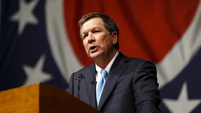 In this Feb. 19, 2013, file photo, Ohio Gov. John Kasich delivers his State of the State address at Veterans Memorial Civic and Convention Center in Lima, Ohio.