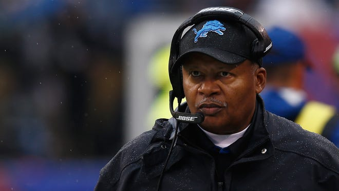 Detroit Lions coach Jim Caldwell looks on in the first quarter against the New York Giants on Dec. 18, 2016. in East Rutherford, N.J.