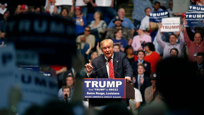 Republican presidential candidate Donald Trump speaks at a campaign rally in Baton Rouge, La., Thursday, Feb. 11.