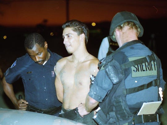 Ernesto Salgado Martinez is arrested in Indio on August 16, 1995, nearly 20 years ago. Martinez was a suspect in two murders, who barricaded himself in a trailer before finally surrounding to an army of police officers.