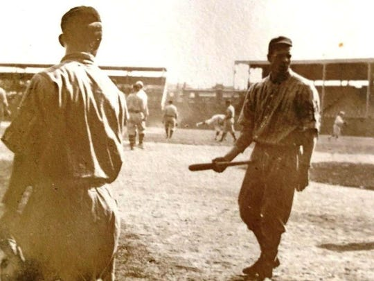 This is a photo of the picture the senior Grits Gresham took (circa 1912) of Hall of Famer Christy Matthewson apparently before a game between Gresham's semi-pro baseball team and the New York Giants.