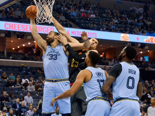 Memphis Grizzlies center Marc Gasol (33) grabs a rebound against Atlanta Hawks center Alex Len (25) in the first half of an NBA basketball game Friday, Oct. 19, 2018, in Memphis, Tenn. (AP Photo/Brandon Dill)
