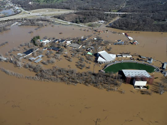 Aerial photograph of Coney Island and Riverbend Music Center as waters break the banks of the swollen Ohio River, Monday, Feb. 26, 2018. The river crested at 60.7 feet Sunday evening, according to the National Weather Service. The river rose above the 60 feet mark for the first time in two decades Sunday morning.