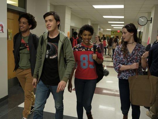 """Jorge Lendeborg (Nick), Nick Robinson (Simon), Alexandra Shipp (Abby), and Katherine Langford (Leah) in """"Love, Simon."""""""