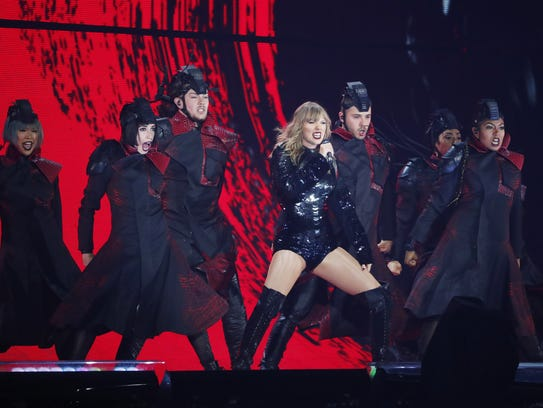 Taylor Swift performs during the launch of her Reputation