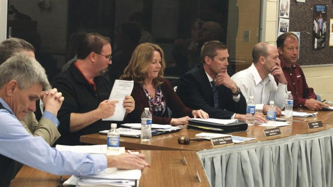 The High Point Board of Education, seen here in April 2017, made an 8-1 vote to eliminate three positions at the school, including the student assistance coordinator, Kate Romeo, who later appealed the decision several times.