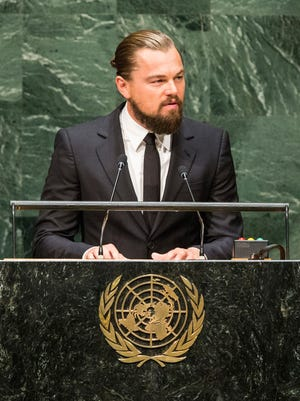 Actor Leonardo DiCaprio speaks at the United Nations Climate Summit on September 23, 2014 in New York City.