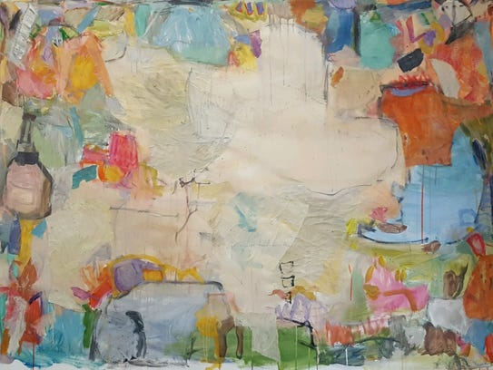 "Cathy Lancaster, ""Fetch,"" mixed media/collage on canvas."