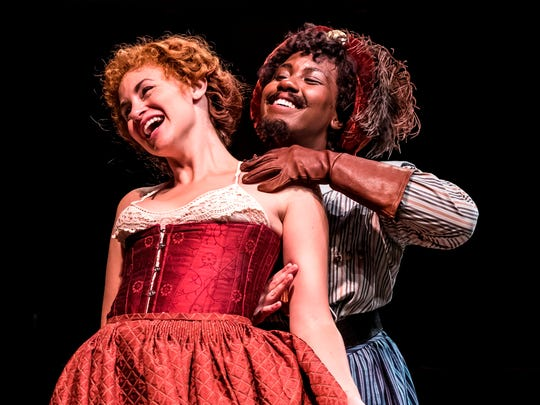 "Alexandra Henrikson (left) and Crystal Lucas-Perry perform in Chicago Shakespeare Theater's production of ""The Taming of the Shrew."""