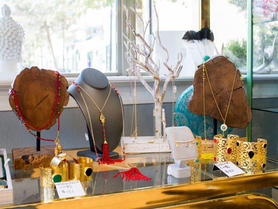 An assortment of jewelry is pictured at Maven Womenswear
