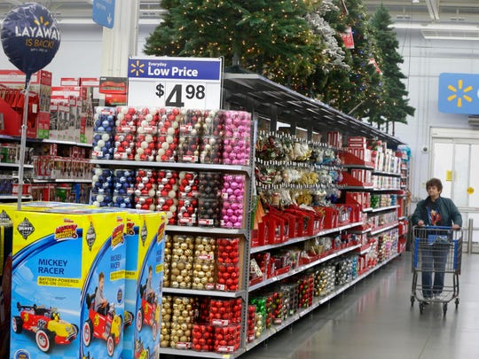Holiday decorations are among the items on sale.