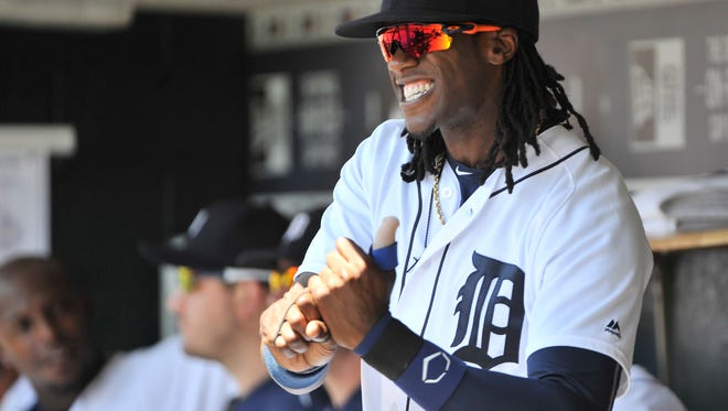 Tigers center fielder Cameron Maybin, who hasn't played since August 4, was back in the lineup Sunday against the Red Sox.