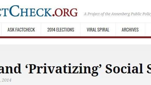 Screen shot of Factcheck.org's website.