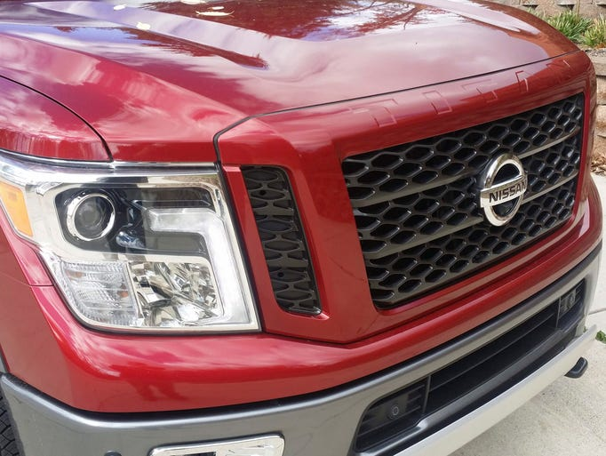 The 2016 Nissan Titan front grill.