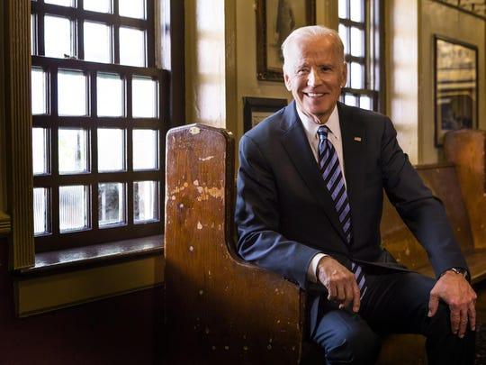 Vice President Joe Biden poses for a portrait at McGillin's Olde Ale House in Philadelphia, Pa. July 27, 2016.