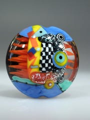 Astrid Riedel of Pretoria, South Africa, will lead a master class on her handblown glass creations, such as this one. The public can contact Studio 34 to schedule a time to observe her work.