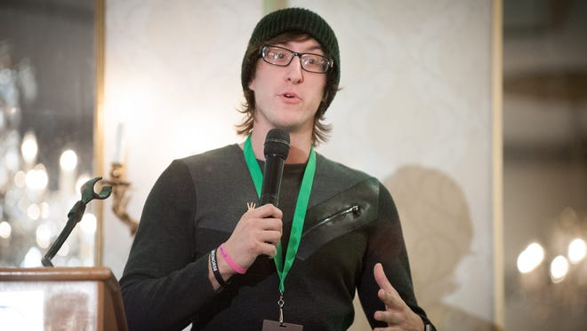 Marcus Grimmie, Christina Grimmie's brother, speaks during the East Coast event for the Christina Grimmie Foundation at The Mansion on Main Street in March of 2018. The event will return to the Mansion on March 9.