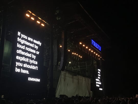 "Eminem warns fans before his Firefly Music Festival performance Saturday following criticism about ""gunshot"" sound effects earlier this month at Bonnaroo Music and Arts Festival."