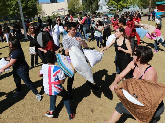 Pillow fighters battled Saturday at Cleveland Square