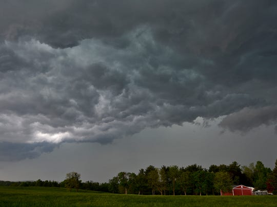 A severe thunderstorm that started with a tornado warning moves into the Manchester/Mount Wolf area, Tuesday, May 15, 2018. John A. Pavoncello photo