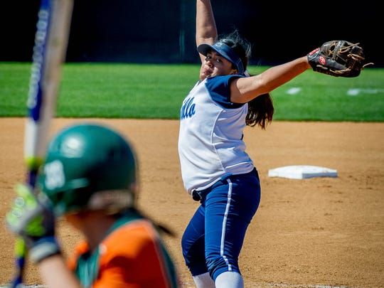 Freshman pitcher Eryka Gonzales gets ready to fire a pitch against Riverside Poly during Saturday's Division 2 softball final in Irvine. Gonzales pitched a two-hit shutout to lead the Scorpions to a 4-0 win.